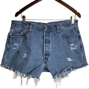 Levi's 501 Upcycled Distressed Jean Shorts W36